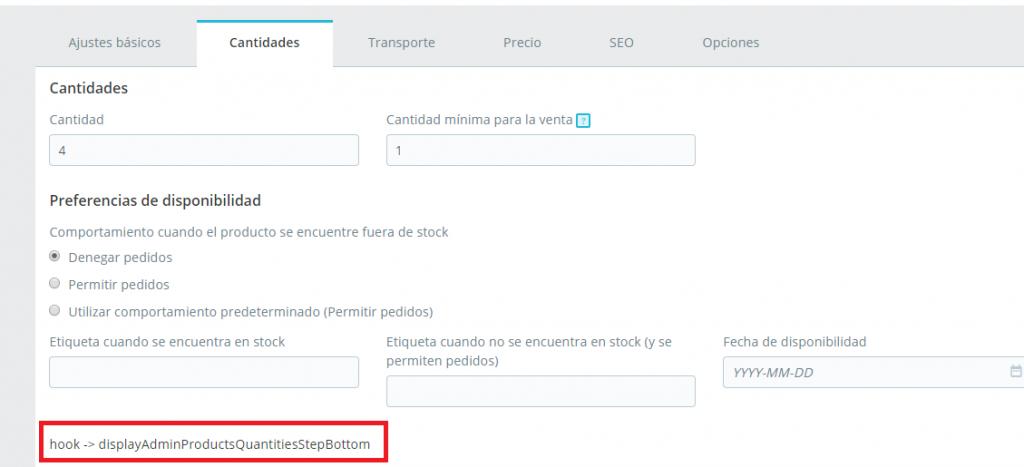 Pestaña -> Stock/cantidades de la ficha de edición del producto