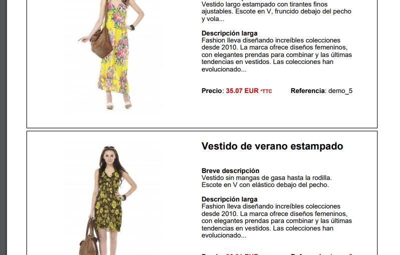 Catálogo PDF de productos en Prestashop