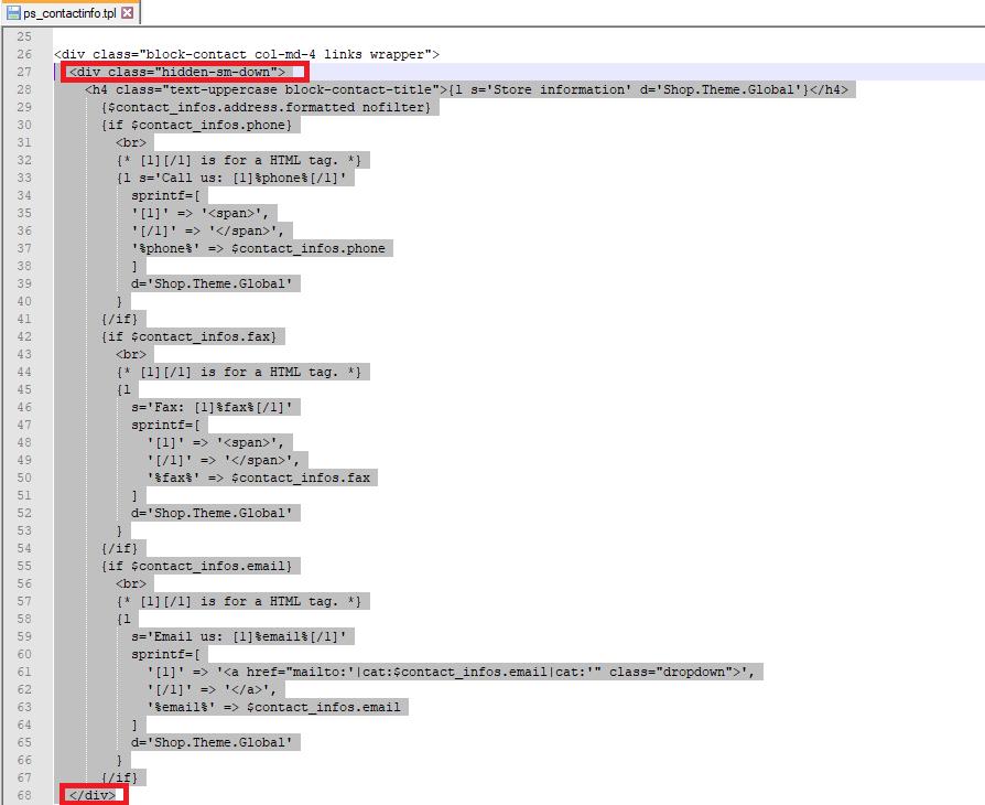 Código dentro de hidden-sm-down