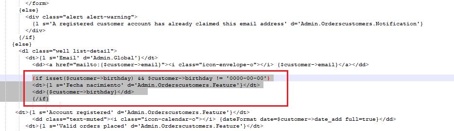 Código para mostrar la fecha de nacimiento