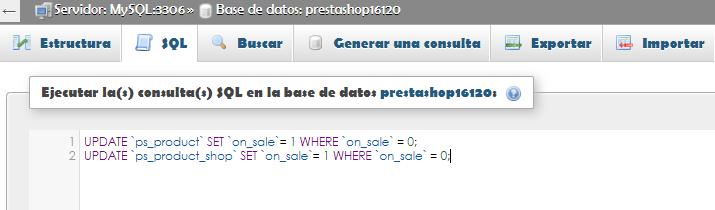 Consulta SQL para actualizar los valores de la etiqueta oferta en Prestashop