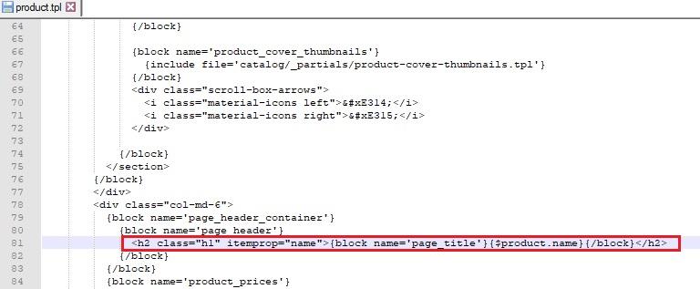 Etiqueta h2 en el título del producto dentro de la ficha del mismo en Prestashop 1.7