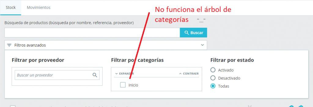 No funciona el árbol de categorías en la sección de stock