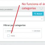 Error en el filtro de categorías al gestionar el stock en Prestashop 1.7