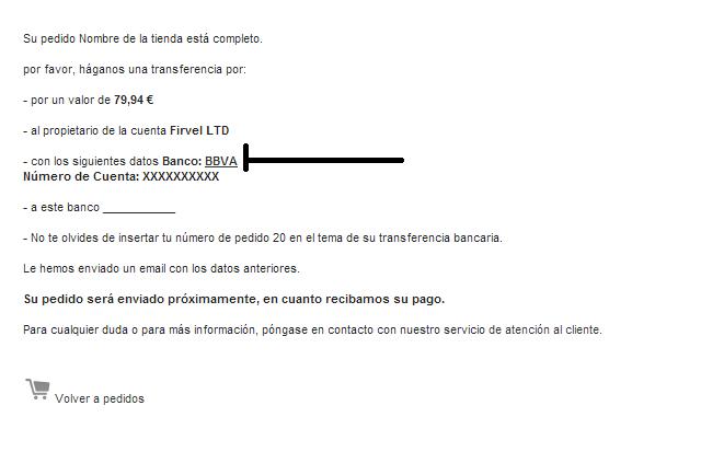 Pantalla confirmación pago del módulo transferencia bancaria con enlace en Prestashop