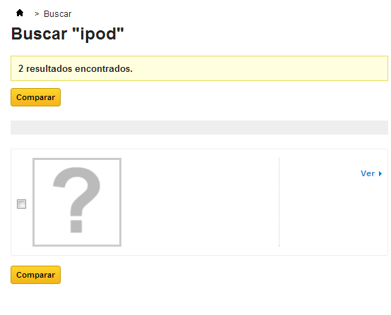 Error al visualizar los productos en una búsqueda