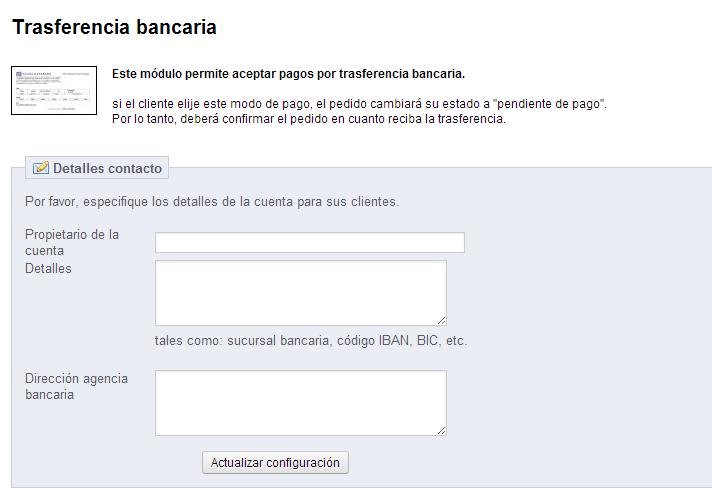 Pantalla configuración módulo transferencia bancaria en Prestashop
